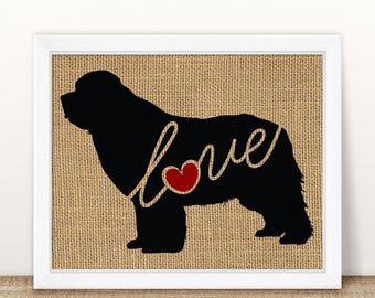 Newfoundland / Newfie - Black Silhouette Dog Wall Art Print on Burlap or Paper Canvas Can Personalize / Customize with Dog's Name (101s)