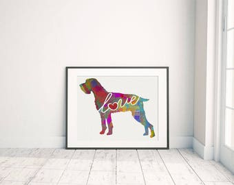 German Wirehaired Pointer/ Pudelpointer / Deutsch Drahthaar Art Print - A Watercolor Style Modern Wall Art Print and Gift for Dog Lovers