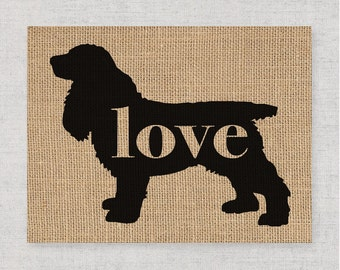 Cocker Spaniel Love - A Burlap Wall Art Print Gift for Dog Lovers - Personalize With Name - Most Breeds Available - Rustic Silhouette (101p)