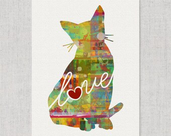 Burmese Cat Art Print - A Watercolor Style Modern Wall Art Print and Gift for Cat Lovers