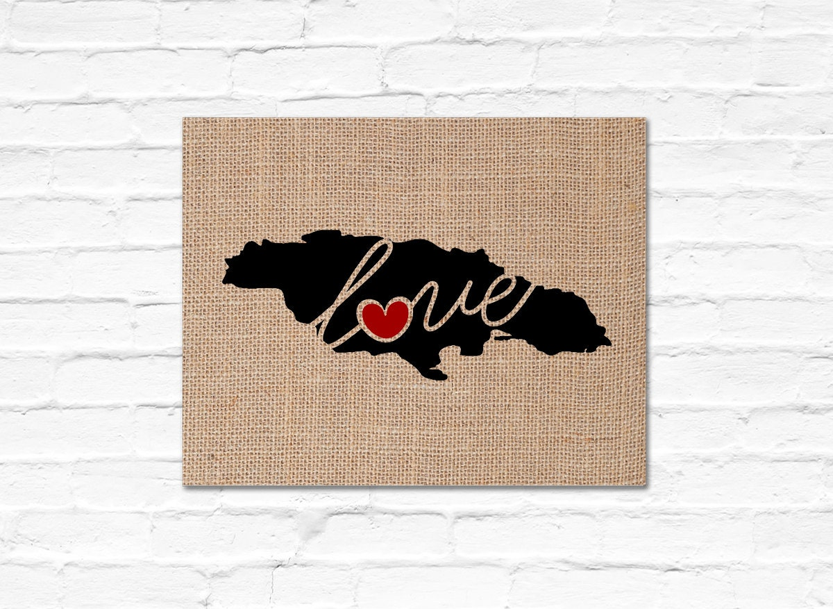 Jamaica Love Burlap Or Canvas Paper State Silhouette Wall Art