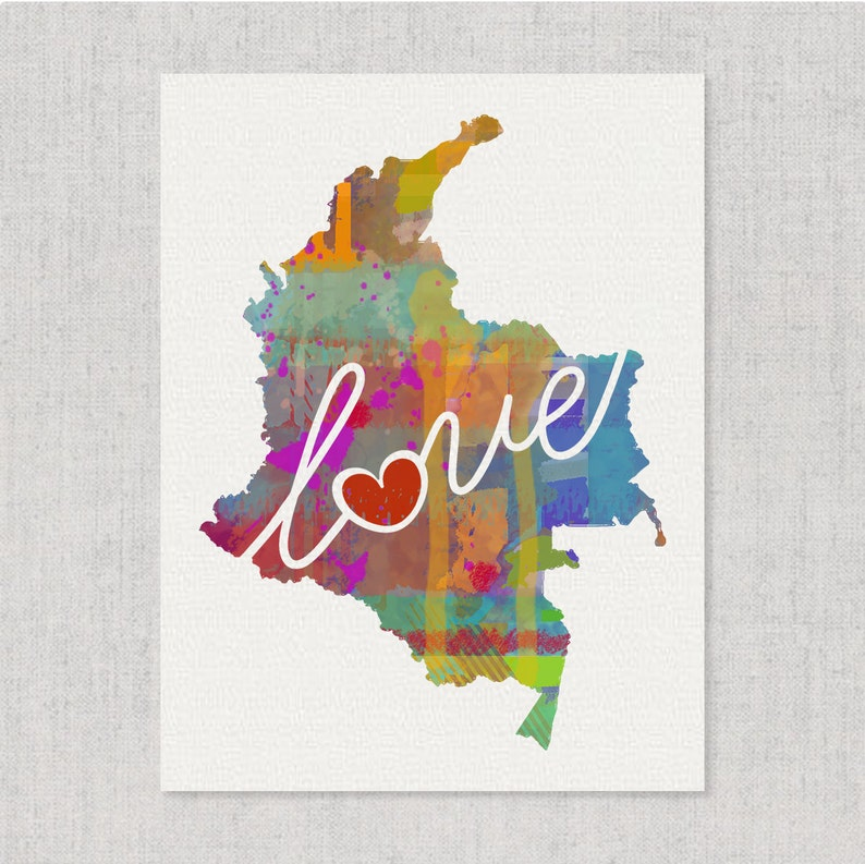 Columbia Love - Colorful Watercolor Style Wall Art Print & Home Country on country of south carolina map, country of texas map, country of lebanon map, country of arabia map, country of georgia map, country of mexico map, country of peru map, country of pennsylvania map, country of chile map,
