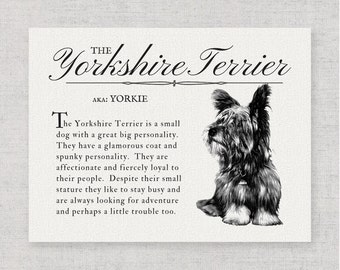 Yorkshire Terrier (Yorkie) -  A Retro - Vintage Style Dog Breed Wall Art Print for Dog Lovers With Definition & Antique Style Illustration