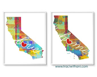 California Love & Home: Instant Digital Download Watercolor Style Wall Art Print