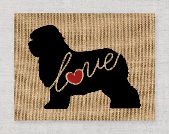 Old English Sheepdog Love - Black Silhouette Dog Wall Art Print on Burlap or Paper Canvas Can Personalize / Customize with Dog's Name (101s)