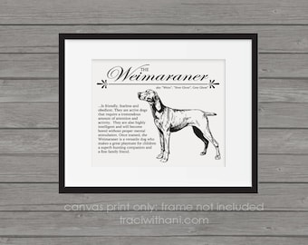 Weimaraner (Weim) - A Retro - Vintage Style Dog Breed Wall Art Print for Dog Lovers With Dictionary Definition & Antique Illustration