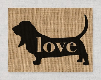 Basset Hound Love - A Burlap Wall Art Print Decor Gift for Dog Lovers - Personalize w/ Name - More Breeds - Rustic Silhouette (101p)