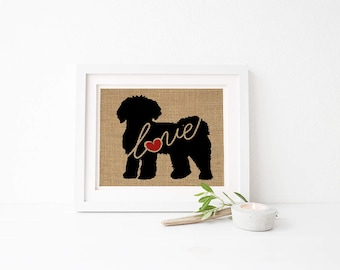 Mini Goldendoodle / Labradoodle / Doodle Love - Burlap Wall Art Gift for Dog Lovers - Personalize Silhouette w/ Name - More Breeds (101s)