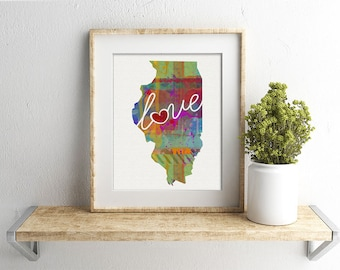 Illinois Love - IL - A Colorful Watercolor Style Wall Art Hanging & State Map Artwork Print - College, Moving, Engagement, and Shower Gift
