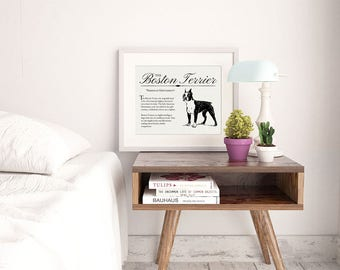 Boston Terrier - Typography Wall Art Print on Canvas Paper With Dog Breed Dictionary Style Definition - Dog Lover Gift - Home Decor Artwork