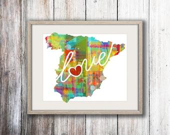 Spain Love: Instant Digital Download Watercolor Style Wall Art Print