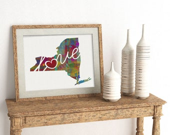 New York Love - NY - A Watercolor Style Home State Wall Decor Art Print for Moving - College - Shower Present - Wedding Gift - Housewarming
