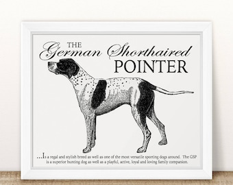 German Shorthair (GSP) - Retro Inspired Typography Wall Art & Home Decor Print on Canvas Paper With Dog Breed Description and Vintage Style