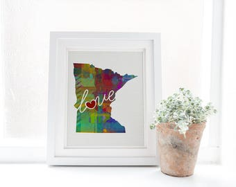 Minnesota - MN - A Colorful Watercolor Style Wall Art Hanging & State Map Artwork Print - College, Moving, Engagement and Shower Gift