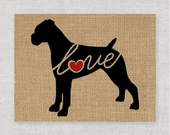 Boxer With Uncropped / Natural Ears - Burlap Dog Breed Wall Art Decor Print - Gift for Dog Lovers - Can Be Personalized w/ Name (101s)