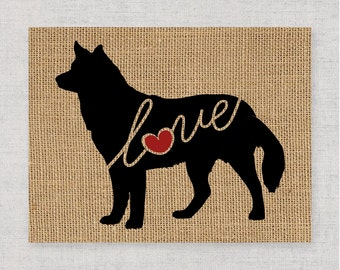 Siberian Husky Love - Burlap or Canvas Paper Dog Breed Wall Art Decor Print - Gift for Dog Lovers - Can Be Personalized w/ Name (101s)