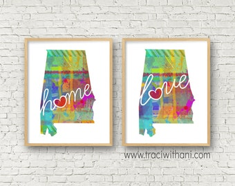 Alabama Love & Home: Instant Digital Download Watercolor Style Wall Art Print