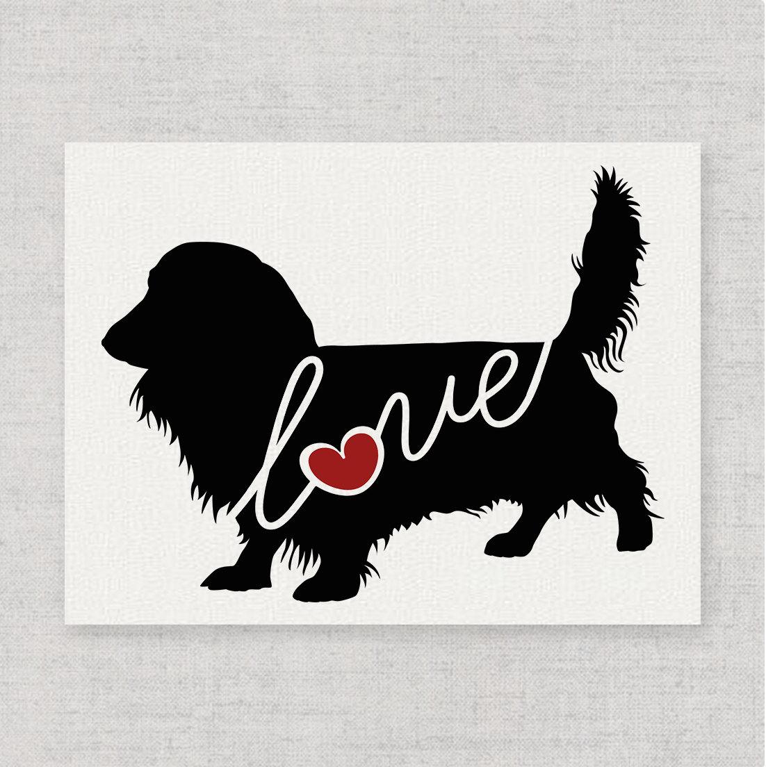 long haired dachshund wiener dog love burlap wall print decor