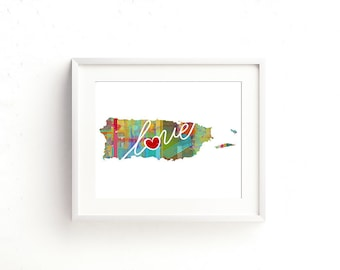Puerto Rico Love: Instant Digital Download Watercolor Style Wall Art Print