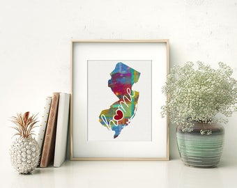 New Jersey Love - NJ - A Colorful Watercolor Style Wall Art Hanging & State Map Artwork Print - College, Moving, Engagement and Shower Gift