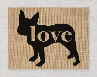 Boston / Bull Terrier - Burlap Wall Art Home Decor Print for Dog Lovers - Black Dog Silhouette - Can be Personalized (More Breeds) (101p)