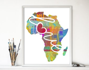Africa Love: Instant Digital Download Watercolor Style Wall Art Print