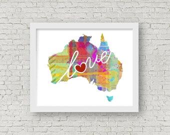 Australia Love: Instant Digital Download Watercolor Style Wall Art Print