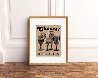 Open Bar Print: A Burlap or Canvas Paper Vintage Inspired / Retro Sign Perfect for a Special Event (Weddings / Graduations / Parties)