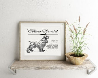 Cocker Spaniel - Typography Wall Art Print on Canvas Paper With Dog Breed Dictionary Style Definition - Dog Lover Gift - Home Decor Artwork