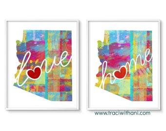 Arizona Love & Home: Instant Digital Download Watercolor Style Wall Art Print