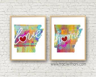 Arkansas Love & Home: Instant Digital Download Watercolor Style Wall Art Print