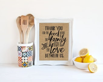 Thank You  / Thanksgiving Prayer - Burlap or Canvas Paper Printed Kitchen, Dining Room Wall Art Print
