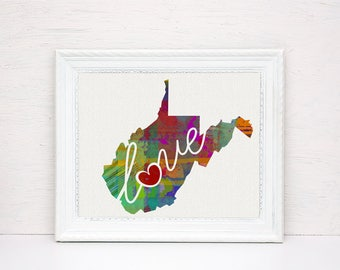 West Virginia - WV - A Colorful Watercolor Style Wall Art Hanging & State Map Artwork Print - College, Moving, Engagement and Shower Gift