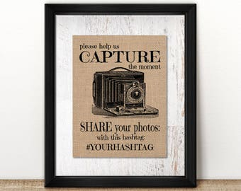 Burlap or Canvas Paper Photo Hashtag / Instagram Sign: Vintage Inspired / Retro Sign Perfect for a Weddings, Graduations, Parties