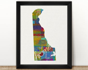 Delaware Love - DE - A Colorful Watercolor Style Wall Art Hanging & State Map Artwork Print - College, Moving, Engagement, and Shower Gift