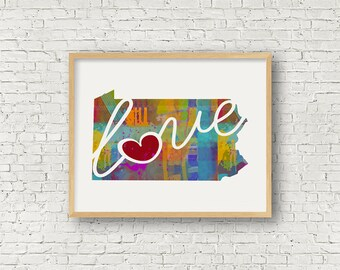 Pennsylvania Love - PA - Colorful Watercolor Style Wall Art Hanging & State Map Artwork Print - College, Moving, Engagement and Shower Gift