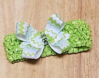 Baby Headbands - Crochet Baby Headbands - Infant Headbands - Newborn Headbands - Lime Green Crochet Headbands with Chevron Bow