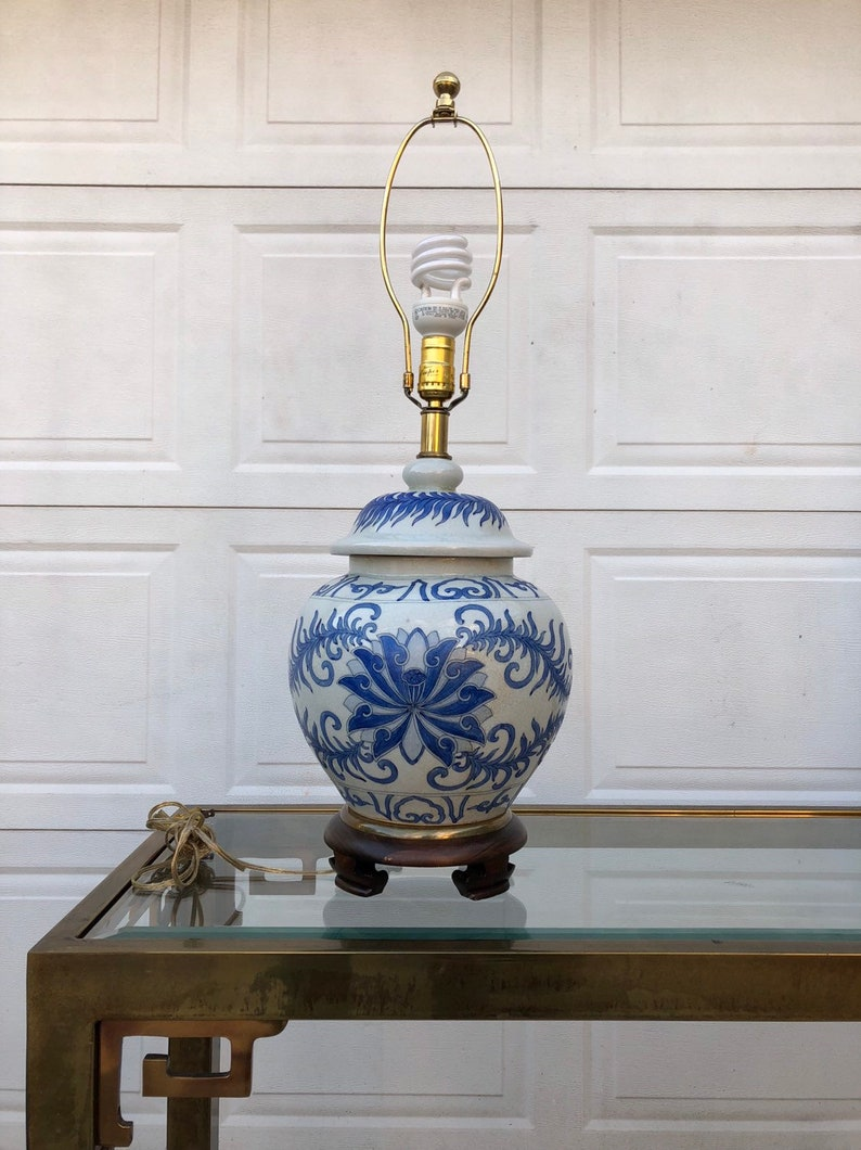 Asian Inspired Blue And White Ginger Jar Lamp By Frederick Cooper