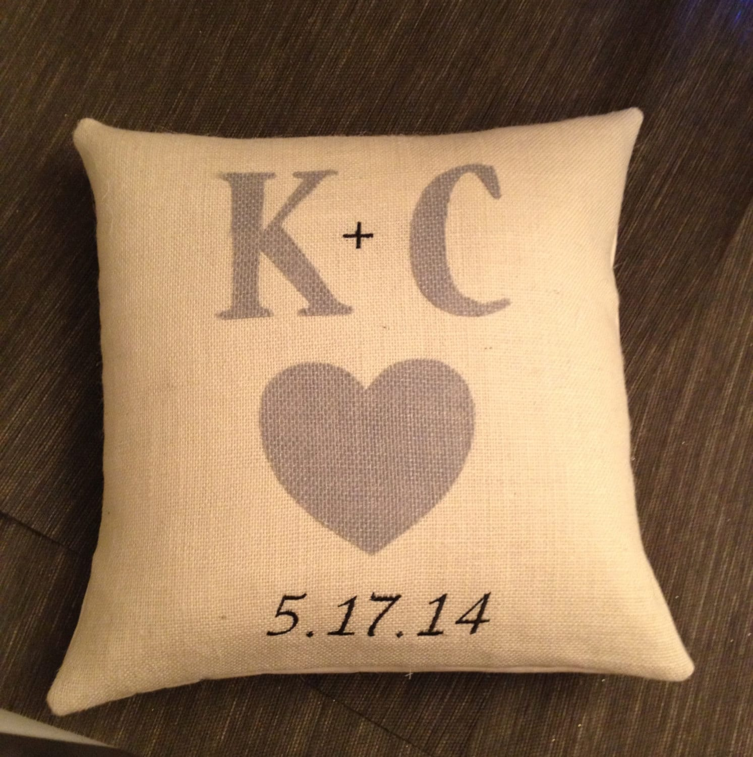 Personalized Pillows For Wedding Gift: Wedding Gift Pillow Personalized Embroidered Ivory Burlap