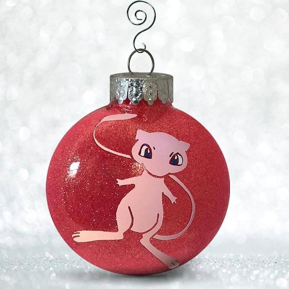 Pokemon Christmas Ornaments.Mew Pokemon Ornaments Pokemon Christmas Mew Gift Personalized Name Date Pokemon Decorating Pokemon Decor Custom Ornament Bulb