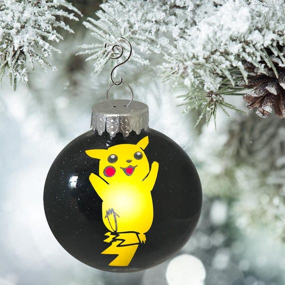 Pikachu Christmas Ornament.Pikachu Ornament Personalized Glitter Pokemon Christmas Ornament Decorating Pokemon Holiday Pokemon Gift Ornament