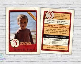 Baseball Birthday Invitation Photo Third Party Card Invite Fourth Fifth Boy