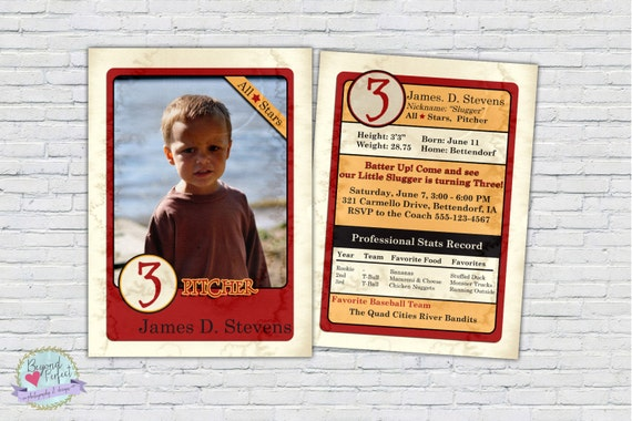 Baseball Cards Card Invitation Personalized Birthday Party Custom DIY Printable