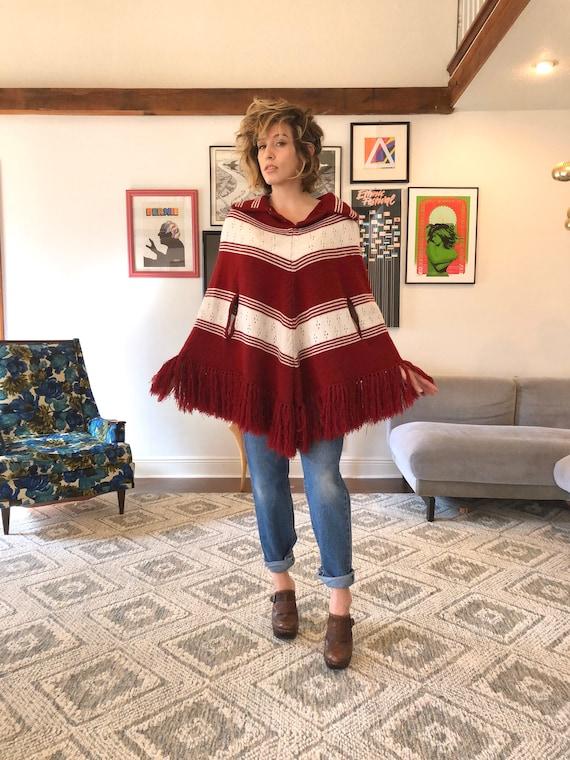 70s Striped Knit Poncho