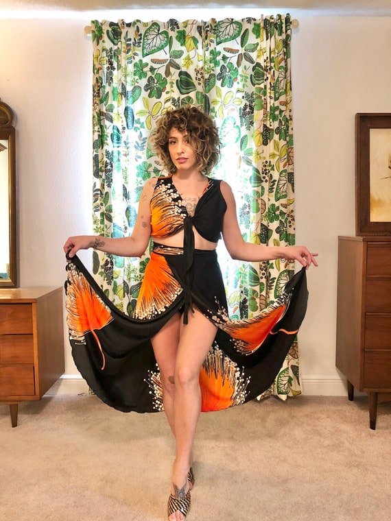 70s Wrap Skirt Set