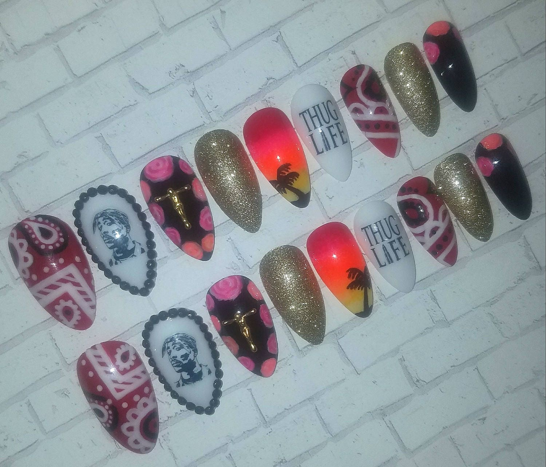 Tupac Stiletto Nails- Fake Nails- False Nails- Faux Nails- Acrylic ...