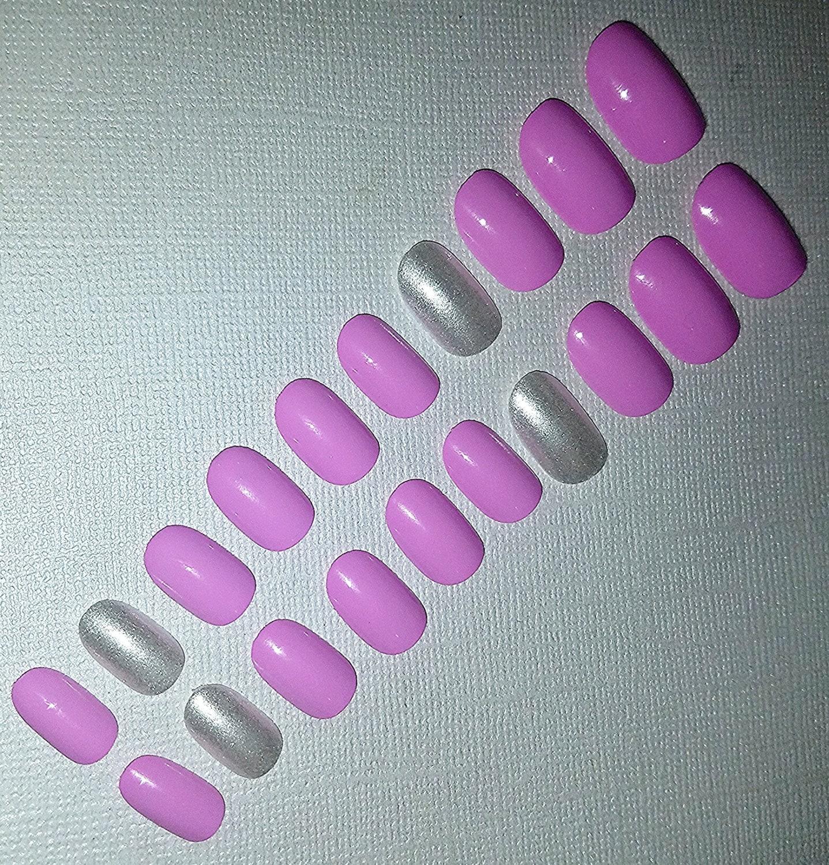 Extra Short Purple Fake Nail Set- Fake Nails- False Nails- Press on ...