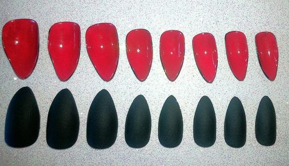 Red Bottom Stiletto Nails Fake Nails Press on Nails Glue on | Etsy