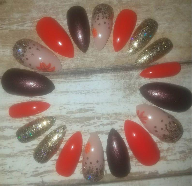 Fall Leaf Stiletto Nails Fake Nails Press on Nails Glue on | Etsy