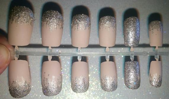 Matte Glitter Fake Nails Press on Nails Glue on Nails | Etsy